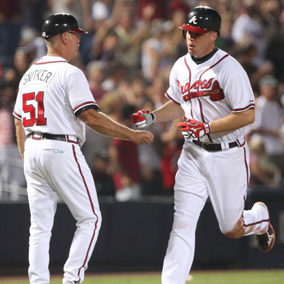 Chipper Jones celebrates his second homer in two games and says he's feeling the best he's felt all season.  (Getty Images)