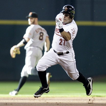 Jose Altuve's first HR in the big leagues is an improbable inside-the-park leadoff shot against the Giants.  (Getty Images)
