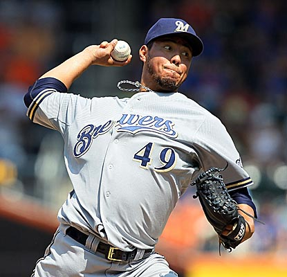 Yovani Gallardo pitches seven strong innings for the Brewers, allowing two runs on six hits. (Getty Images)