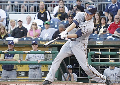 Milwaukee starter Chris Narveson gives himself a 2-0 lead in the fourth inning with a two-out two-run single.  (AP)