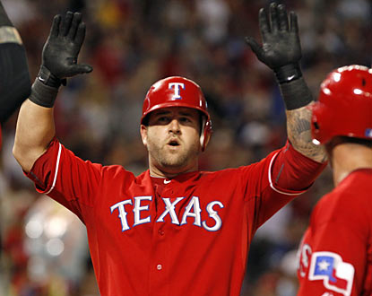 Mike Napoli provides a three-run blast that gives the Rangers more than enough run insurance to beat the Red Sox.  (AP)