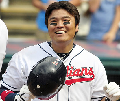 Cleveland's Shin-Soo Choo is all smiles after hitting the first walk-off homer of his career. (Getty Images)