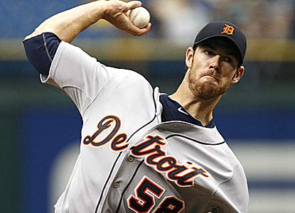 Doug Fister, who fires seven scoreless innings, is 3-1 in five starts since joining the Tigers on July 30. (AP)