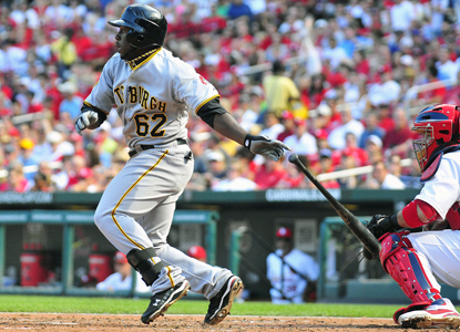 Josh Harrison swings through a single in the fourth inning before finishing the game 3 for 4 with three RBI. (Getty Images)