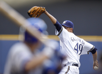 Over his last five starts in Milwaukee, Yovani Gallardo is 4-0 with a 0.75 ERA.  (Getty Images)