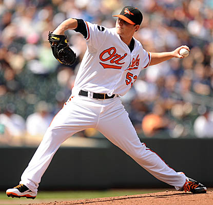 Rookie Zach Britton pitches seven solid innings vs. the Yankees, allowing four hits and striking out five. (Getty Images)