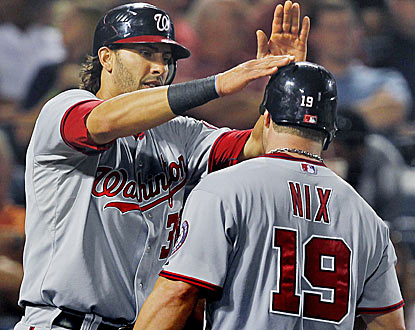 Michael Morse congratulates Laynce Nix on his home run, one of four hit by Washington. (AP)