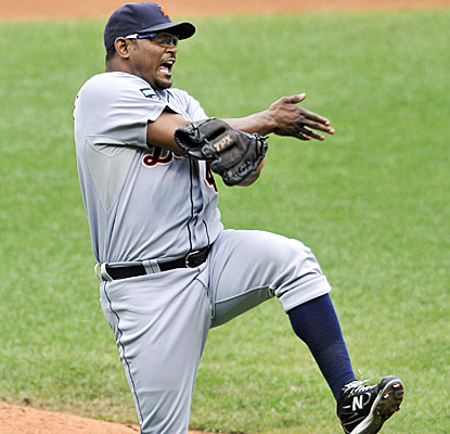 Jose Valverde celebrates after wrapping up his 41st save and a Tigers win in Cleveland. (US Presswire)