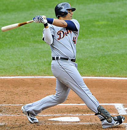 Detroit's Victor Martinez launches a three-run home run in the fourth inning against Cleveland. (US Presswire)