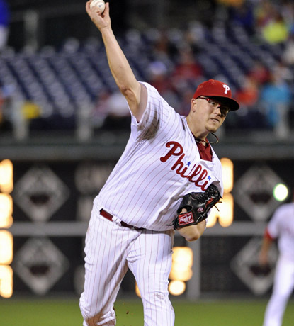Vance Worley earns his ninth straight win after allowing two runs, seven hits and striking out six. (US Presswire)