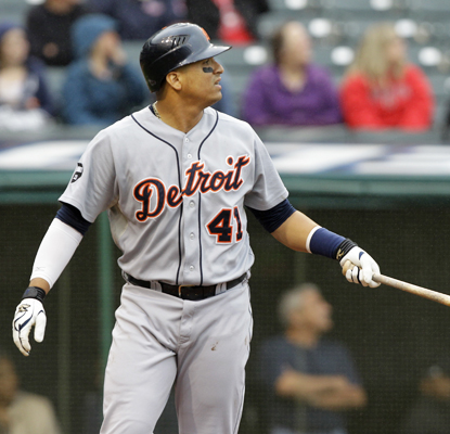 Victor Martinez watches his grand slam in the seventh inning against the Indians. (AP)