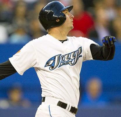 David Cooper goes 3 for 4 with two RBI in his first game back with the Blue Jays. (AP)