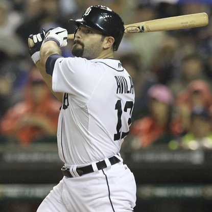 Alex Avila follows through on a three-run blast in the second inning against the Tigers.  (Getty Images)