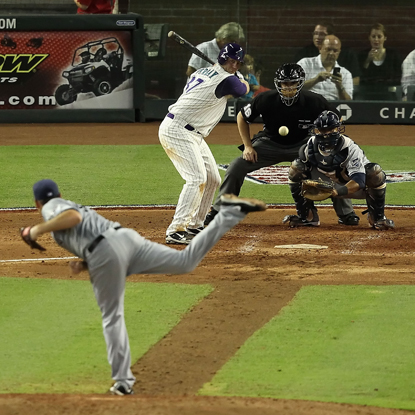 D-Backs' Lyle Overbay hits a home run off Heath Bell in the ninth and sends the game into extra innings.  (Getty Images)
