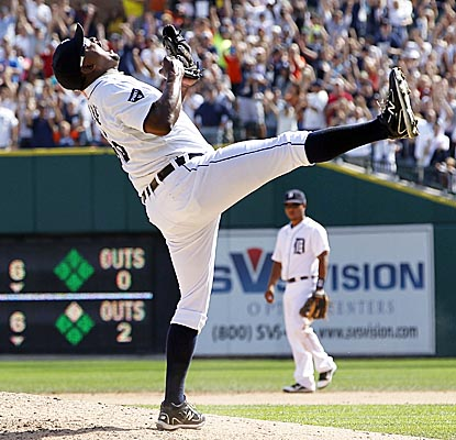 Jose Valverde celebrates nailing down the win for the Tigers as he records his team-record 43rd save. (Getty Images)