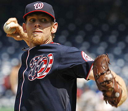 Stephen Strasburg strikes out four and gives up three hits in his second start 57-pitch outing. (AP)