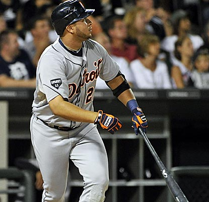 Jhonny Peralta watches the trajectory of his second-inning homer as the Tigers light up the ChiSox. (Getty Images)