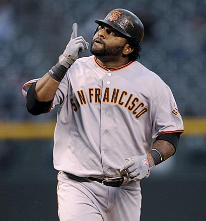 Pablo Sandoval begins his big night with a two-out two-run home run to right field in the first inning.  (AP)