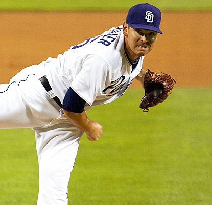 Tim Stauffer strikes out six hitters and allows no runs in 6 2/3 innings of work against the D-Backs. (AP)