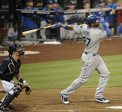 Matt Kemp has just one hit, but it's a homer, to tie Albert Pujols for the NL lead with 37. (Getty Images)