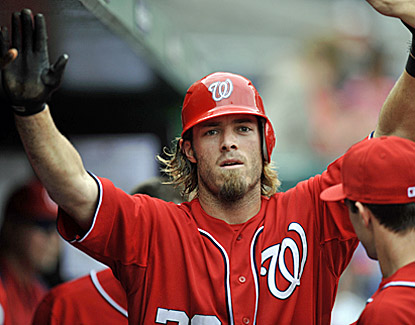 Washington's Jayson Werth celebrates after scoring in the second inning on Chris Marrero's hit during the Nats' 4-1 win. (US Presswire)