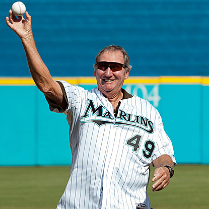 Former Marlins hurler Charley Hough throws out the ceremonial first pitch at the last game played at Sun Life Stadium. (US Presswire)