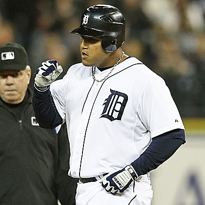 Miguel Cabrera has two hits to spark the Tigers' win.  His batting average sits at an AL-best .344. (Getty Images)