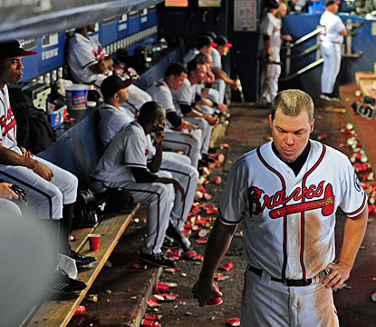 Atlanta's 10 1/2-game lead just a month ago has evaporated in one of the biggest collapses in baseball. (Getty Images)