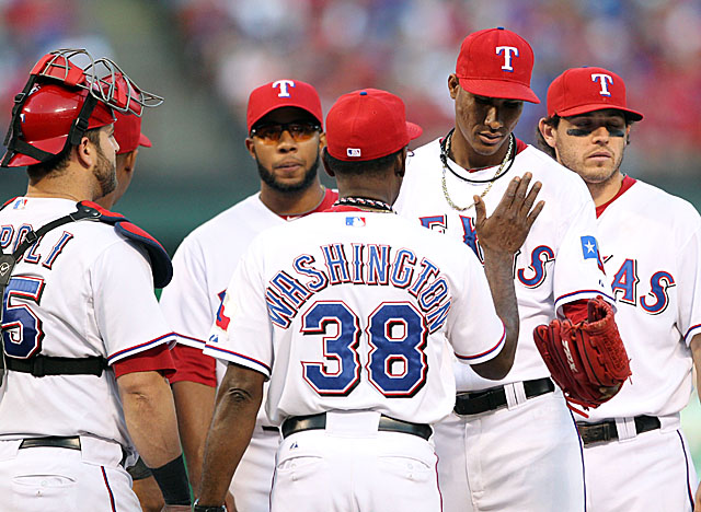 Alexi Ogando is the second of five pitchers the Rangers bring in from the bullpen in Game 2. (US Presswire)