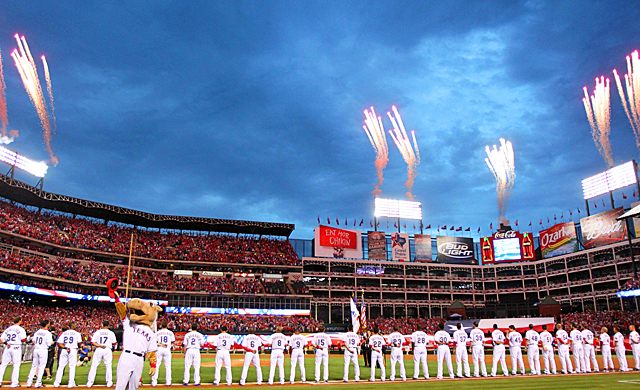 There'll be plenty of fireworks on display for the World Series at Rangers Ballpark. (US Presswire)