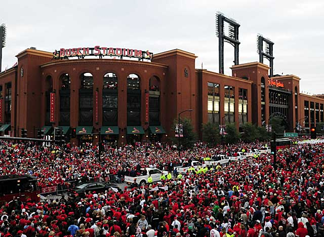 Throngs of fans descend on Busch Stadium to celebrate their World Series champion Cardinals. (US Presswire)