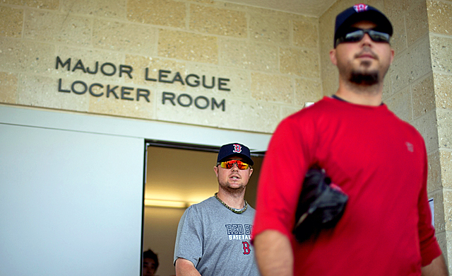 Josh Beckett (right) and Jon Lester are set to atone for the Red Sox's collapse last season. (AP)