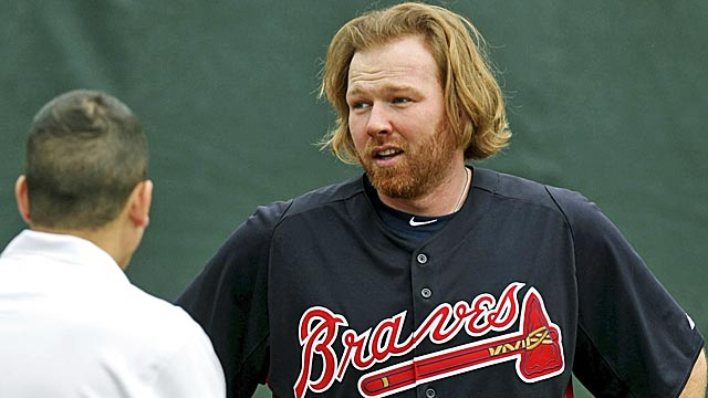 Braves pitcher Tommy Hanson is back on the field after suffering a concussion in a car accident. (AP)