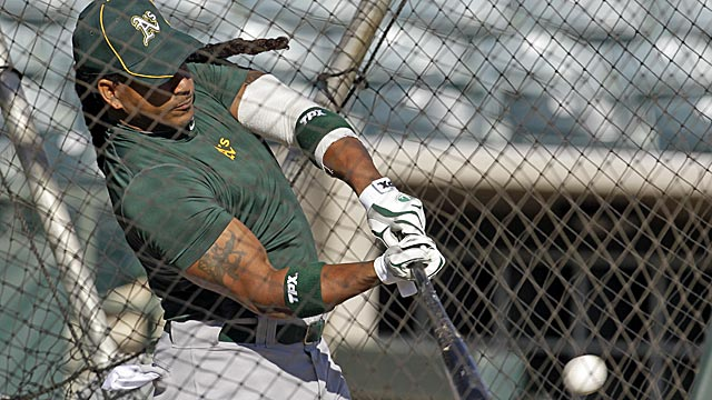 Manny Ramirez, like Mike Piazza and many others, is making a late-career stop in Oakland. (AP)
