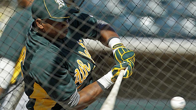 A's outfielder Yoenis Cespedes, who could begin the year in the minors, takes batting practice. (AP)