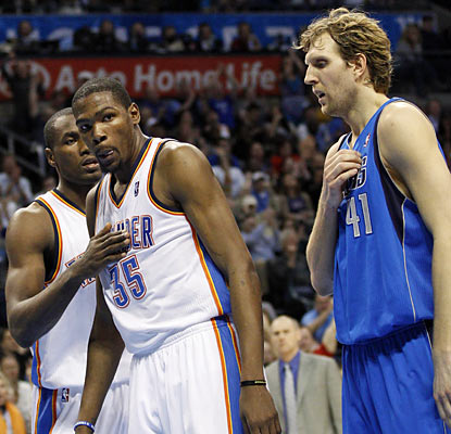 Serge Ibaka, Kevin Durant and the Thunder do enough late to deny Dirk Nowitzki and Co. a road win. (AP)