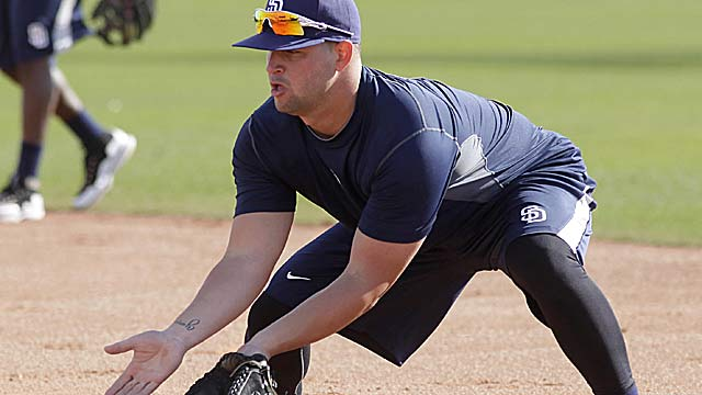Yonder Alonso will shore up first base, where the Padres ranked 13th in the NL in defense in 2011. (US Presswire)