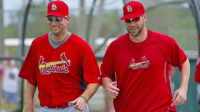 The return of Adam Wainwright (left) gives the Cardinals another ace to go with Chris Carpenter. (US Presswire)
