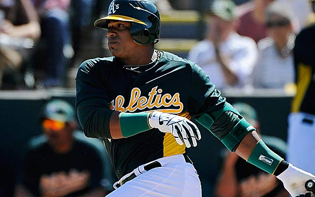 Yoenis Cespedes gives A's fans something to watch this season. (Getty Images)