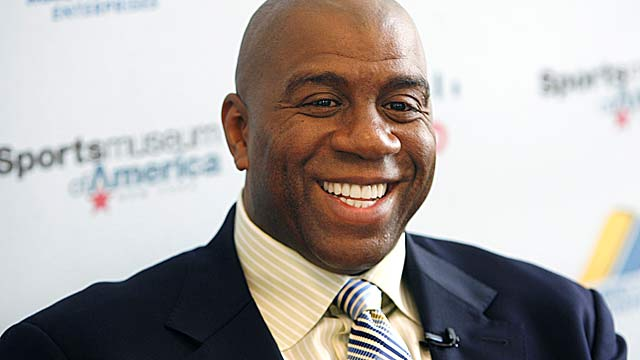 Though Magic Johnson is more popular than his partners, he shouldn't be the face of the Dodgers. (AP)