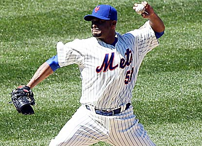 Johan Santana goes five scoreless innings in his first start since having shoulder surgery in September 2010. (US Presswire)
