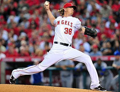 Jered Weaver is off to a solid start for the Angels as he strikes out 10 in eight innings on the mound. (US Presswire)