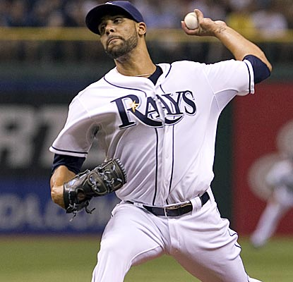 Rays lefty David Price strikes out five over 6 1/3 innings to earn his first win since Aug. 28th of last year.  (US Presswire)