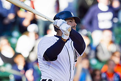Tigers catcher Alex Avila connects for a two-out, two-strike walk-off home run in the 11th inning. (US Presswire)