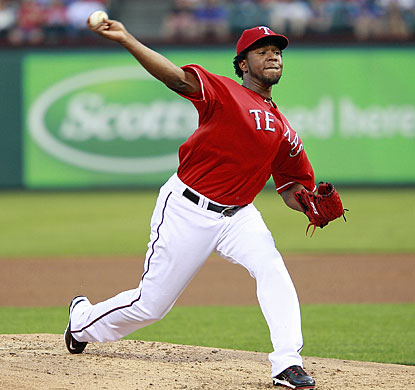 Neftali Feliz strikes out four and gives up four hits in seven innings in his first outing since Game 6 of the World Series.  (Getty Images)