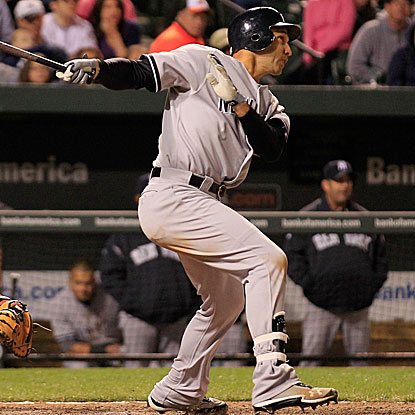 Raul Ibanez's 12th-inning double drives in Robinson Cano and proves to be the game-winning RBI.  (Getty Images)