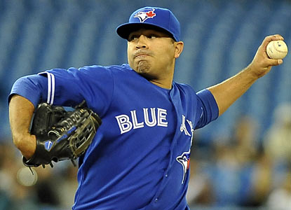 The Blue Jays' Ricky Romero churns out 17 straight outs before exiting in the ninth inning. (Getty Images)