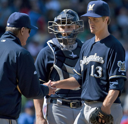 Brewers starter Zack Greinke only lasts 3 2/3 innings and allows eight earned runs for the first time since 2010.  (Getty Images)