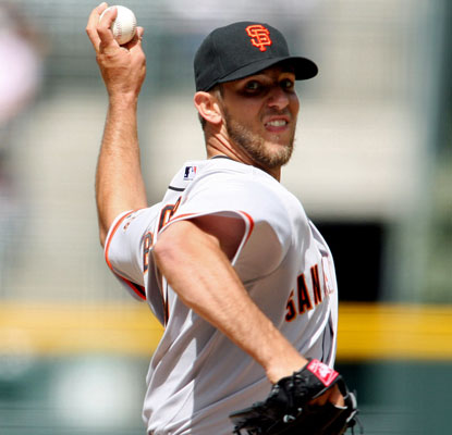 Madison Bumgarner faces Jamie Moyer in a pitching matchup with the biggest age differential since 1965.  (US Presswire)
