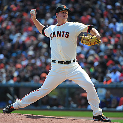 The Giants' Matt Cain strikes out 11 and retires 27 of 28 batters faced for a one-hit, complete-game shutout.   (US Presswire)